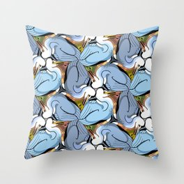 Great Blue Heron Tessellation Throw Pillow