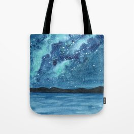 """Sea Glass Galaxy"" watercolor landscape painting Tote Bag"