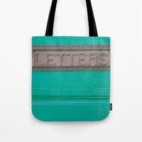 letters Tote Bags featuring Letters by Riot Jane