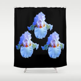 PASTEL BLUISH WHITE IRISES Shower Curtain