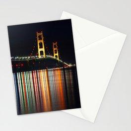 Mackinac Bridge at Night Stationery Cards