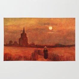 The Old Tower in the Fields by Vincent van Gogh Rug