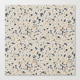 Terrazzo Pattern - Neutral Beige, Blue, Light Orange Canvas Print