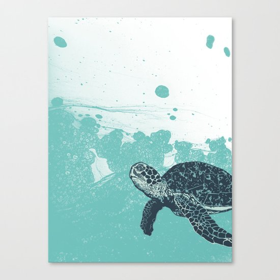 Sea Foam Sea Turtle Canvas Print