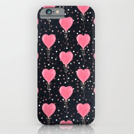 Romantic Watercolor Pink Hearts Balloons Confetti design iPhone Case