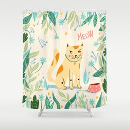 Meow cat Shower Curtain