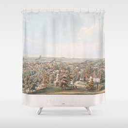 Vintage Pictorial Map of Springfield MA (1851) Shower Curtain