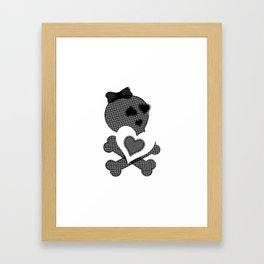 Skull Lace  - Crossbones Heart Illustration Framed Art Print
