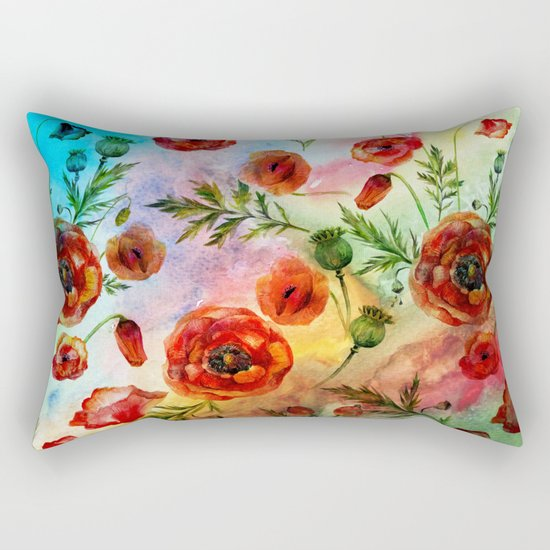 Poppy LOVE pattern- Poppies and Flowers on colorful watercolor background  on #Society6 Rectangular Pillow