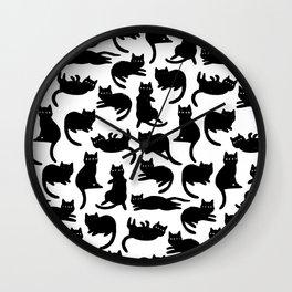 Black Cat Poses Wall Clock