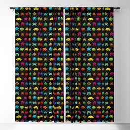 Invaders of Space retro arcade video game pattern design Blackout Curtain