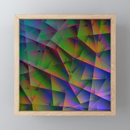 Abstract bright pattern of green and overlapping blue triangles and irregular-shaped orange lines. Framed Mini Art Print