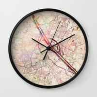 vienna Wall Clocks featuring Vienna by MapMapMaps.Watercolors