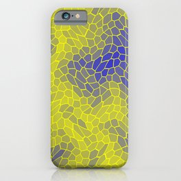 Stained glass texture of snake yellow leather with dark heat spots. iPhone Case