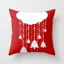Christmas, snow, tree and cloud Throw Pillow