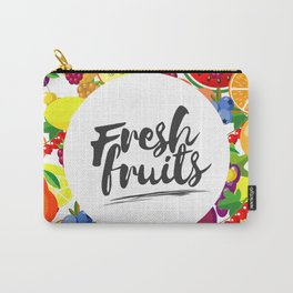 Fresh fruits. Background with juicy ripe fruit and berries , round composition, lettering. Carry-All Pouch