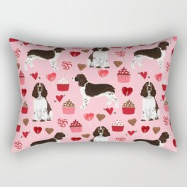 English Springer Spaniel love hearts valentines day gifts for dog person pet friendly pet portrait Rectangular Pillow