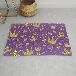 Purple & Gold Glitter Princess Rug
