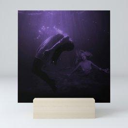 Mermaid Saves Drowning Victim in Purple Underwater Scene Mini Art Print