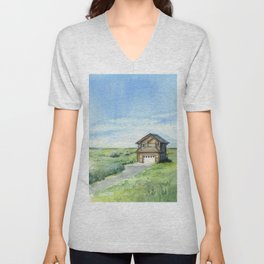 Sky and Grass Landscape Watercolor Unisex V-Neck