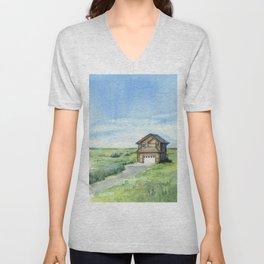 Sky and Grass Landscape Watercolor Unisex V-Neck