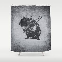 Angry street art mouse / hamster (baseball edit) Shower Curtain