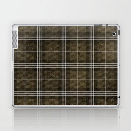 Grungy Brown Plaid Laptop & iPad Skin