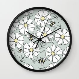 Bees and cosmos flowers Wall Clock