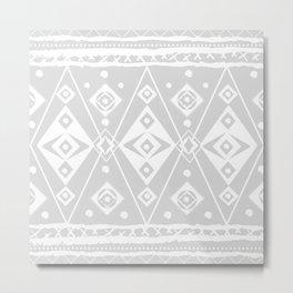 Gray and White Diamonds and Circles Egg Metal Print