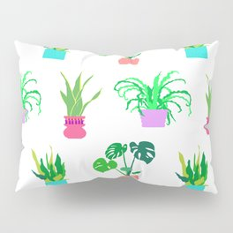 Simple Potted Plants in White Pillow Sham