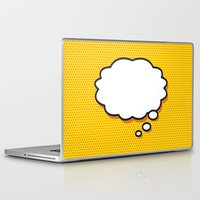 comic book Laptop & iPad Skins featuring Comic Book THINK by The Image Zone