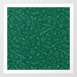 Yer a Wizard - Green + Silver Art Print