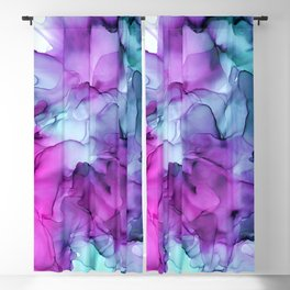 Abstract Mermaid Magenta Indigo Blue Ink Painting Blackout Curtain