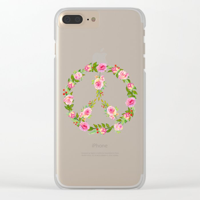 Pink Rose Peace Wreath Clear iPhone Case