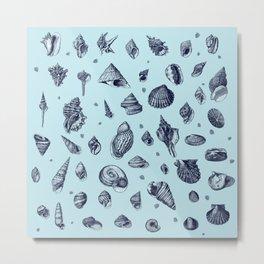 Sea shells pattern in blues Metal Print