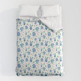 Blue Bunny Pattern Duvet Cover