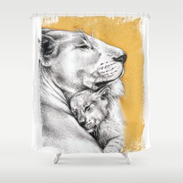 Lioness Mom Love Art Shower Curtain