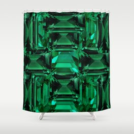 CLUSTERED FACETED EMERALD GREEN MAY GEMSTONES Shower Curtain