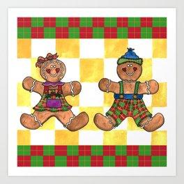 Gingerbread Twins Art Print
