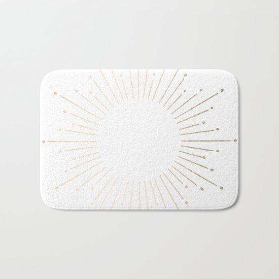 Simply Sunburst in White Gold Sands on White Bath Mat