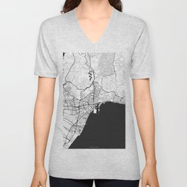 Malaga Map Gray Unisex V-Neck
