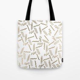 Geometrical white faux gold abstract retro 80's pattern Tote Bag
