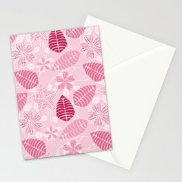 Pretty Pink Floral Leaf Pattern Stationery Cards