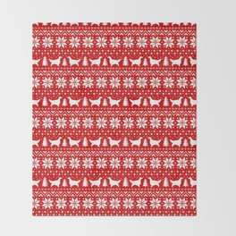 English Setter Silhouettes Christmas Sweater Pattern Throw Blanket