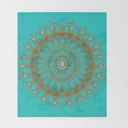 Hand-Drawn Bohemian Mandala Turquoise & Rust Throw Blanket