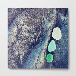 White, Aqua, Green Metal Print