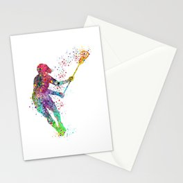 Lacrosse Girl Colorful Watercolor Sports Art Stationery Cards