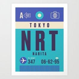 Retro Airline Luggage Tag - NRT Tokyo Narita Art Print