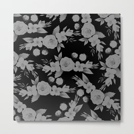 Black white modern hand painted watercolor floral Metal Print