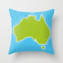 map of Australia Continent and blue Indian Ocean. Vector illustration Throw Pillow